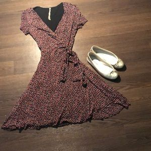 Bailey44 Red Dotted Faux Wrap Dress Size S
